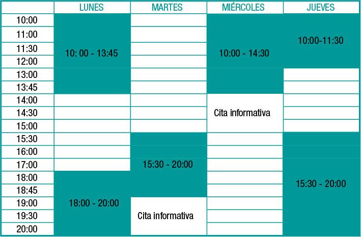 Horario del Centro Quiropráctico San Sebastián en Donostia